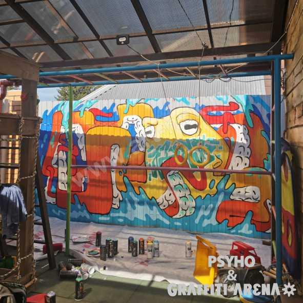 Mr. ALEX и подводный мир на стене детской площадки, роспись забора частного дома