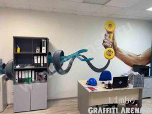 Роспись стены в офисе Сиб.фм GROUP